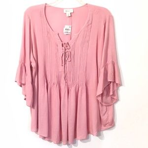 Style & Co Pink Pintucked Ruffle Peasant Top 1X